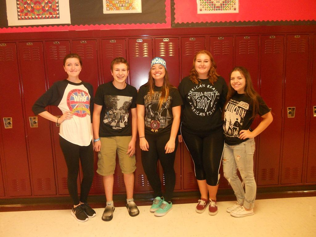 Students model their Knight pride by participating in Band T-shirt Day during Homecoming Spirit Week.
