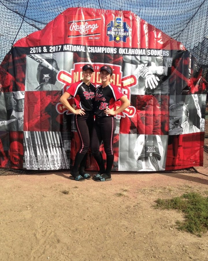 Best firends Amanda Weyh and Ashley Platek pose together at a softball game